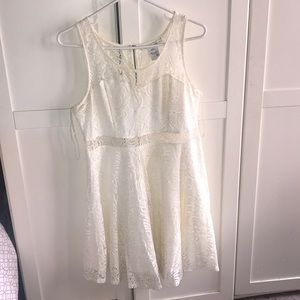 American rag white lace fit n flare dress